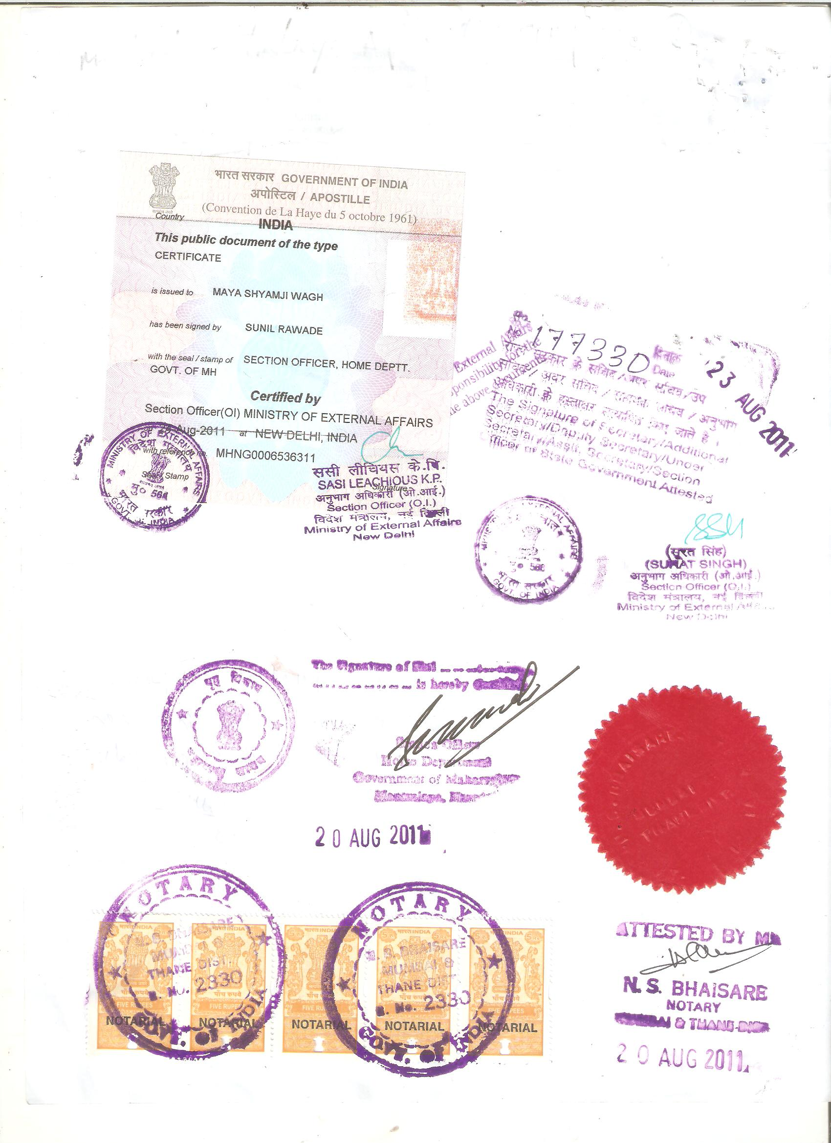 Certificate apostille service in india certificate attestation certificate sample yadclub Images